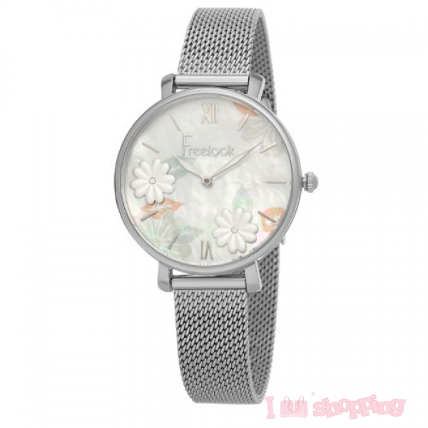Flower Design Silver Color Lady Watch FL.1.10059-1