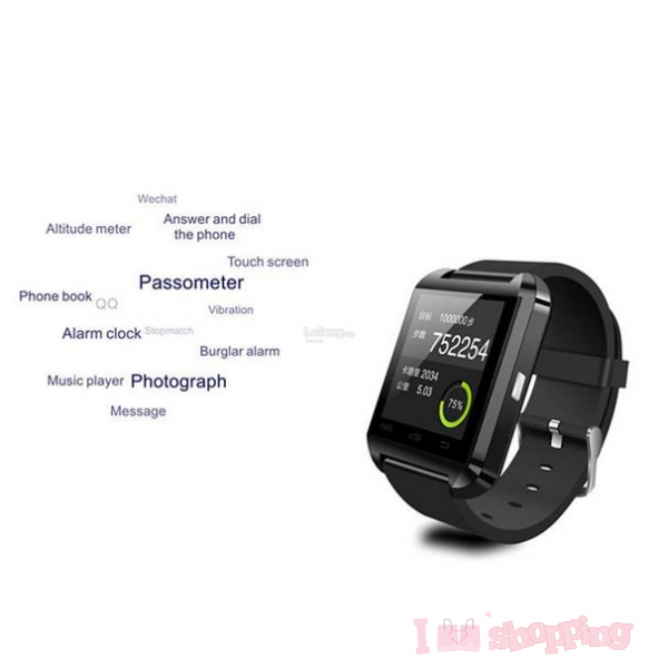 U8 Steel Silicon Sports Bluetooth V3.0 Smart Wrist Watch for Android ISO