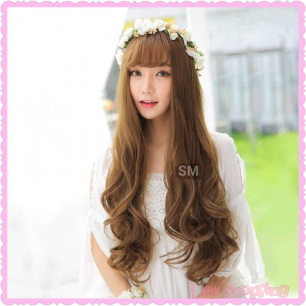 Korea Style Lady Long Curly Brown Color Wig