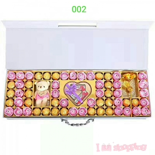 Chocolate Box with Bears and Rose Set