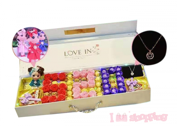 Rose Chocolate Box with Doll and Necklace Set