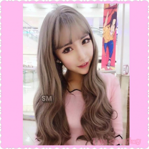 Women Curly Wavy Mixed Color Wig