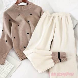 Lady Street Style Sweater Design and Long Pant One-set