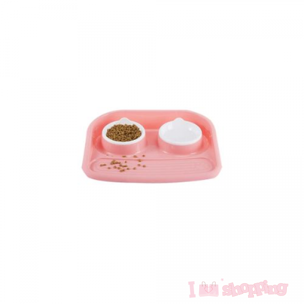 Pet Feeding Bowl With Water Cup