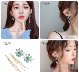 Lady Floral Blue Crystal Earring