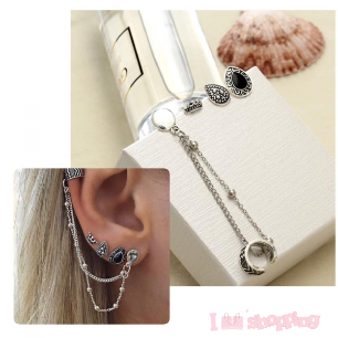 Women's 4 Pcs Black Color And  Chain Style Earring